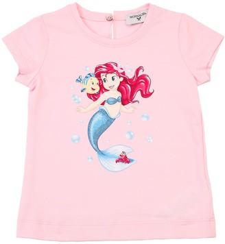 MonnaLisa Mermaid Print Cotton Jersey T-shirt