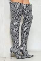 Nasty Gal nastygal Grey Vegan Leather Snake Thigh High Boots