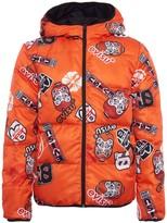 Evisu Allover Badges Printed Reversible Down Jacket
