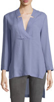 Halston Notched V Neck High-Low Tunic Top, Lavender