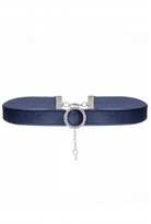 Quiz Navy Velvet Diamante Choker