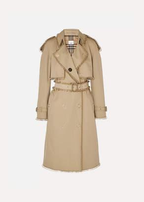 Burberry Embellished Cotton-gabardine Trench Coat - Beige