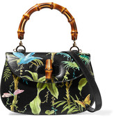 Gucci Bamboo Classic Printed Textured-leather Shoulder Bag - Black
