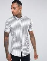 Asos Skinny Stripe Shirt In Gray