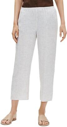 Eileen Fisher Check Organic Linen Crop Straight Leg Pants