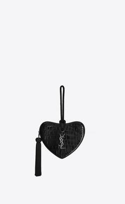Saint Laurent Love Bag Monogram Caur Clutch In Crocodile Embossed Patent Leather Black Onesize