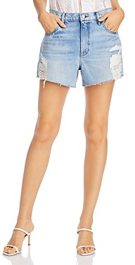 Frame Le Ultra Baggy Ripped Denim Shorts in Lomond Slash