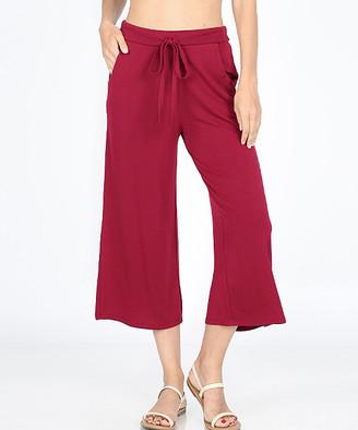 Zenana Women's Capris CABERNET_IPB - Cabernet Tie-Waist Gaucho Pants - Women & Plus