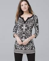White House Black Market 3/4-Sleeve Printed Tunic