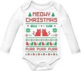 TeeStars Cute Xmas Bodysuit - Meowy Christmas Ugly Sweater Design Baby Long Sleeve Onesie