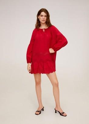 MANGO Open-work ruffled dress red - 4 - Women