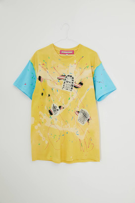 Urban Renewal Vintage MINDBLOWN Repurposed Oversized Yellow Graphic Tee