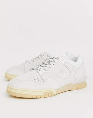 Lacoste Court Point premium trainers in off white suede