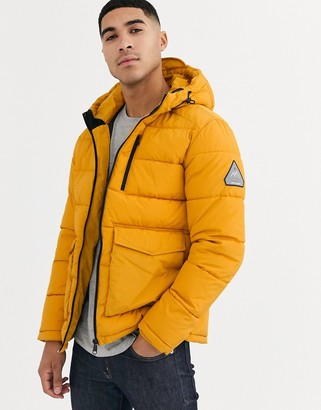 Jack and Jones Originals hooded puffer jacket with patch pockets in yellow