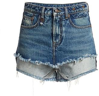 R 13 Double Layer Denim Shorts