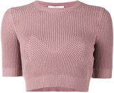 Valentino ribbed knitted crop top - women - Cashmere - S