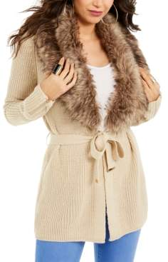 Thalia Sodi Faux-Fur Trim Ribbed Cardigan, Created For Macy's