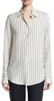 The Row Peter Striped Silk Blouse, White Pattern