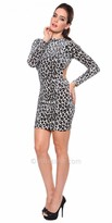 Atria Sexy Animal Print Keyhole Cocktail Dress