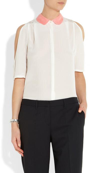Maje Aie lace-trimmed cutout silk blouse
