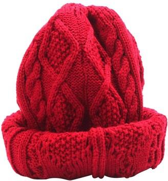 Koly Women's Winter Warm Hat Crochet Knitted Baggy Beanie Oversized Ski Cap (Red)