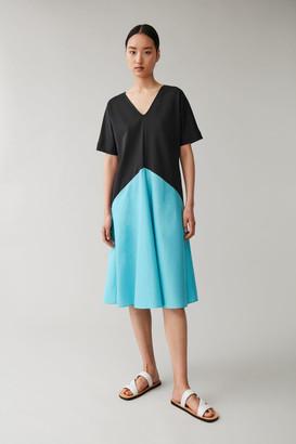 Cos Draped Panel Cotton Dress