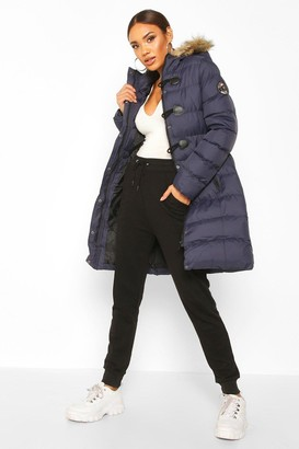 boohoo Quilted Faux Fur Hood Parka