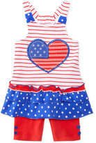 Nannette 2-Pc. Hearts and Stripes Cotton Top and Shorts Set, Baby Girls (0-24 months)