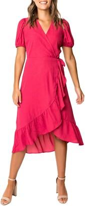 Gibson Ruffle Trim Wrap Midi Dress