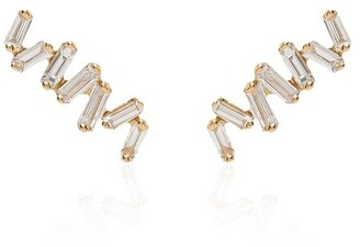 Suzanne Kalan 18kt yellow gold Baguette diamond earrings