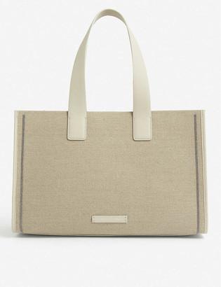 Brunello Cucinelli Bead-embellished linen-blend tote bag