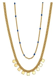 Unwritten Gold Flash Plated Square Circle Bead and Mini Blue Bead Layered Pendant Necklace