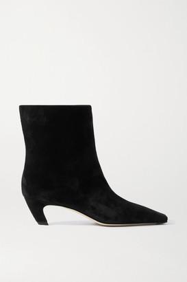 KHAITE Suede Ankle Boots - Black
