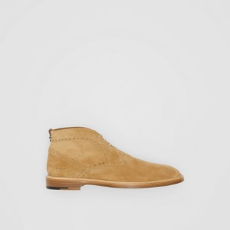 Burberry Brogue Detail Suede Boots