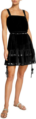 Ramy Brook Neena Embellished Tiered Skirt Mini Dress