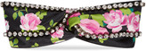 Gucci Climbing roses print silk headband with crystals