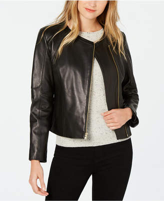Cole Haan Asymmetrical Leather Moto Jacket