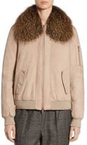 Brunello Cucinelli Fox Fur & Suede Bomber Jacket