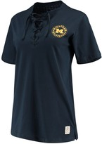 Unbranded Women's Pressbox Navy Michigan Wolverines Sherry Lace-Up T-Shirt