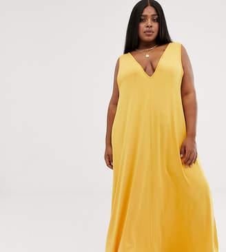 Asos DESIGN Curve plunge trapeze maxi dress-Yellow