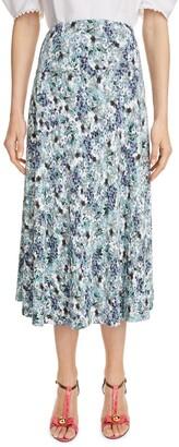 Erdem Floral Print Fluted A-Line Midi Skirt