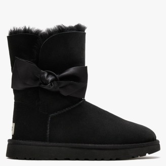 UGG Daelyn Black Twinface Leather Bow Ankle Boots