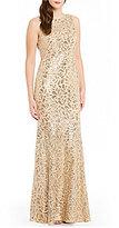 Calvin Klein Round Neck Sleeveless Sequin Embroidered Gown