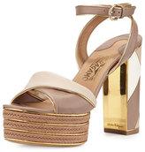 Salvatore Ferragamo Gaga Patchwork Leather Platform Sandal, Nutmeg