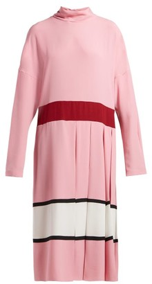 Marni High-neck Pleated Midi Dress - Pink White