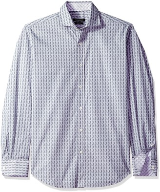 Bugatchi Men's Shaped Fit Printed Long Sleeve Button Down Woven