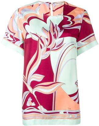 Emilio Pucci Mirei Print Silk Short Sleeved Top