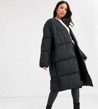 Asos Tall DESIGN Tall collarless padded coat in black