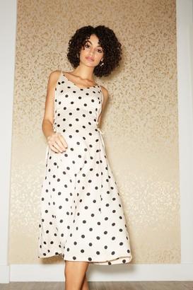 Little Mistress Huni Cream Polka-Dot Satin Lace-Up Midi Slip Dress