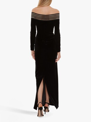 Gina Bacconi Bertina Off The Shoulder Velvet Maxi Dress, Black